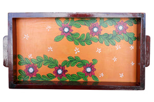Miharu Leafy Patachitra Hand Painted Wooden Tray