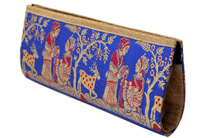 Miharu Blue and Gold Pure Silk Clutch