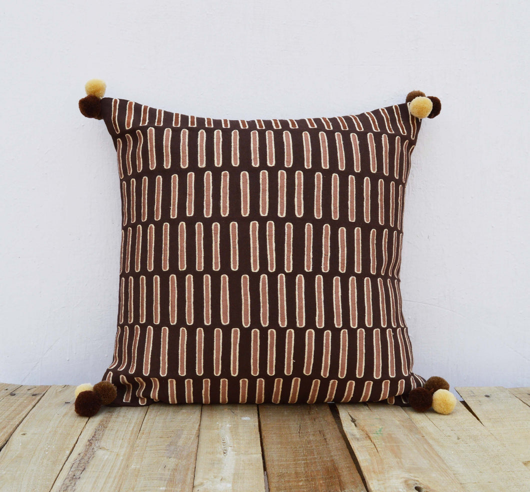 Brown and beige, pillow cover, embroidered, mola style pillows, standard size 16X16 inches (VL251)