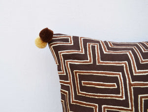 Brown colour pillow cover, embroidered, mola style pillows, standard size 16X16 inches (VL252)