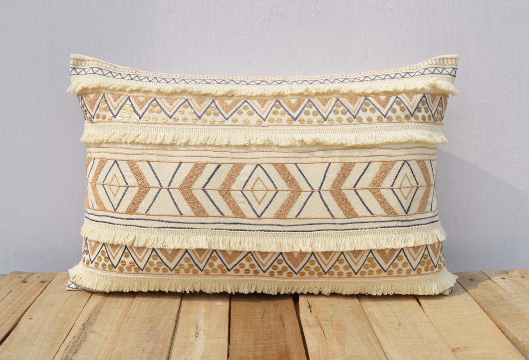 Cream colour pillow cover, embroidered, moroccan pillow, standard size 14X21 inches (VL249)