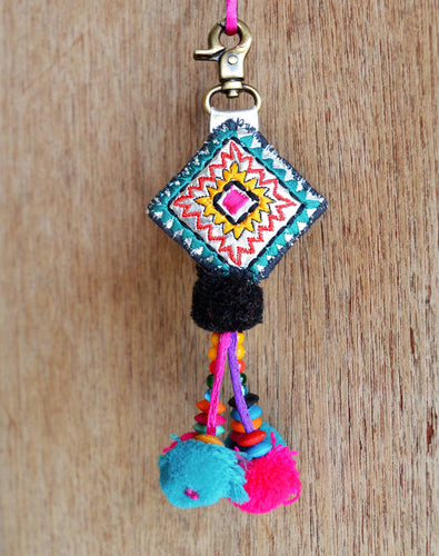 Multicolor tassel, handmade, boho bag charm, tribal, bohemian, size 5' or 12.5 cms