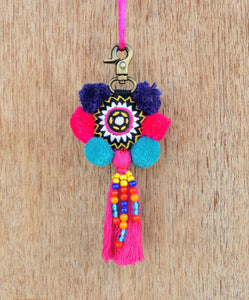 Multicolor tassel, handmade, bag charm, tribal, bohemian, embroidery, moroccan size 5' or 12.5 cms