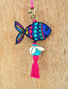 Multicolor fish tassel, handmade, boho bag charm, tribal, bohemian, moroccan size 6' or 15 cms