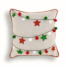 Christmas linen pillow cover, ornaments, garland, Indian brocade, applique, embroidered pillow size