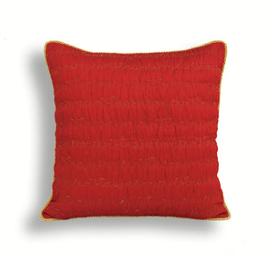 Christmas pillow cover, red and gold, script, merry Christmas, quilted, pillow size 16'X16'