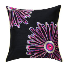ANS Black 2 Flower Asymetrical Emb cushion cover with contrast piping