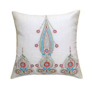 ANS Ornamental White and Gold Embroidered Cushion Cover with colour highlights