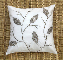 ANS White Dry Leaves Emb Cushion Cover with gold piping at sides