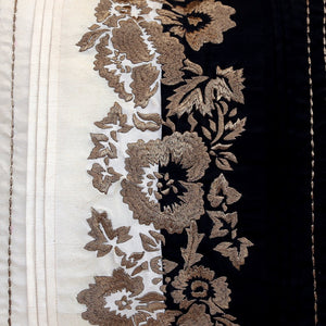 ANS White and Black Ornamental Gold Embroidered Cushion Cover