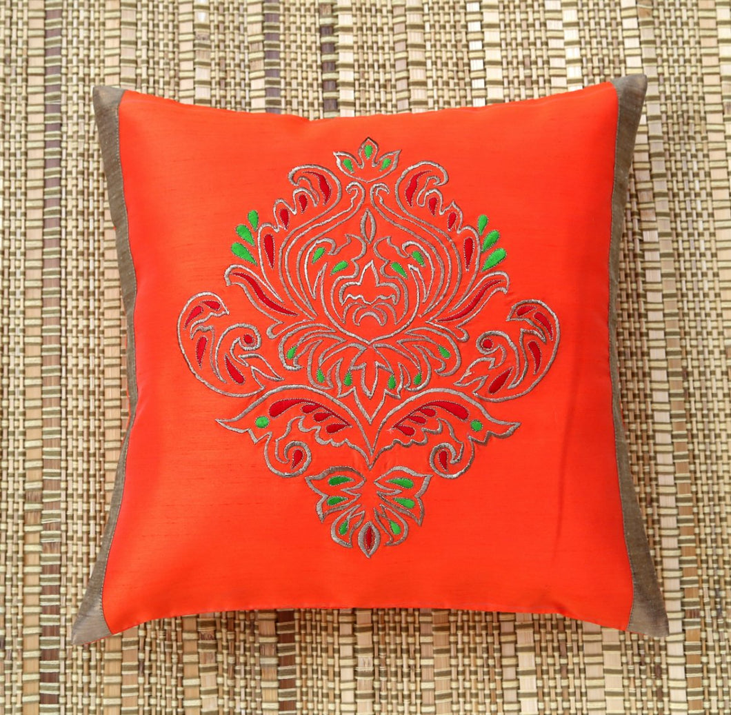 ANS Orange Ornamental Single Big Gold Embroidered Cushion Cover
