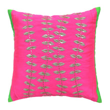 ANS Fuschia Silver Flower Strands Emb Cushion Cover with contrast panels