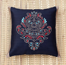 ANS Black Ornamental Single Big Gold Embroidered Cushion Cover