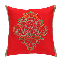 ANS Red Ornamental Single Big Gold Embroidered Cushion Cover