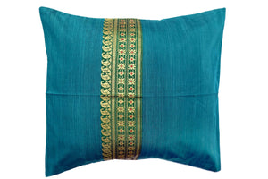 Miharu Green Embroidered Cotton Silk Cushion Cover 16inX16in