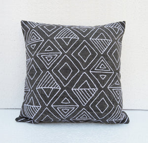 Aztec pattern cushion cover, charcoal Base White Geometrical Embroidery cotton cushion cover- VL262