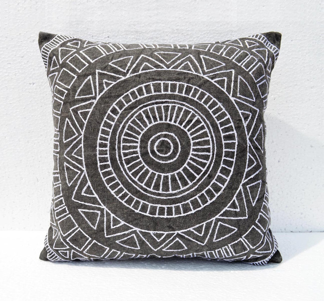 Aztec pattern pillow cover, charcoal colour, Geometrical Embroidery, cotton pillow cover - VL261