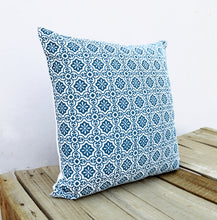 Talavera tile print, indigo pillow cover, Blue printed cotton cushion cover - VL271