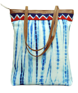 Shibori Tote With Embroidery