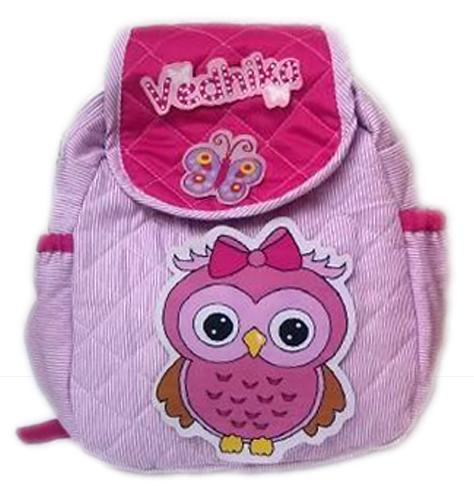 pink owl theme school bag- personalised