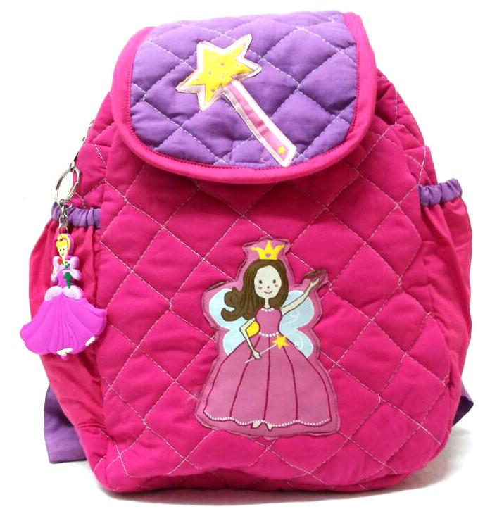 pink princess theme school bag with keychain