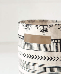Canvas basket, aztec print, black and white, storage basket, fabric bin, sizes available
