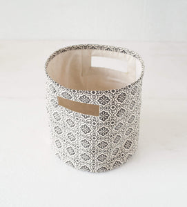 Canvas basket, tile print, black and white, storage basket, fabric bin, sizes available