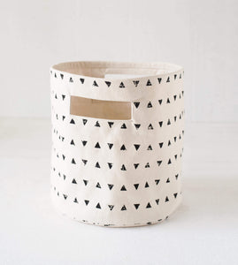 Canvas basket, triangle print, black and white, storage basket, fabric bin, sizes available