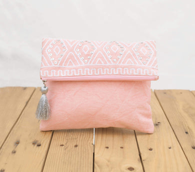 Blush foldover clutch, stone washed clutch, bridesmaid purse, silver sequin bag , aztec, bohemian, s