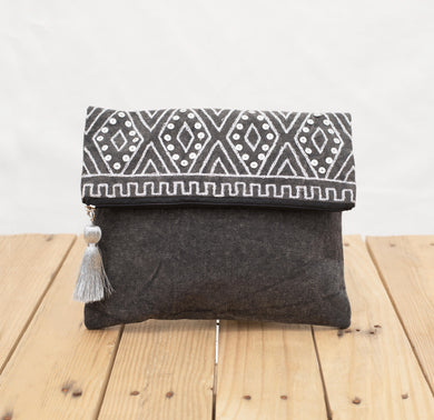 Charcoal foldover clutch, stone washed clutch, bridesmaid purse, silver sequin bag , aztec