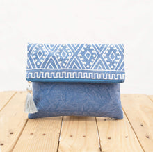 Indigo foldover clutch, stone washed clutch, bridesmaid purse, silver sequin bag , aztec, bohemian