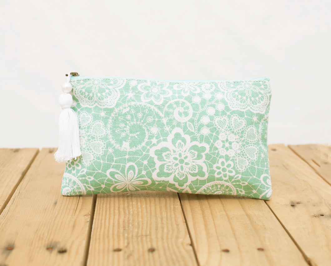 Lace print pouch, mint clutch, zipper purse, make up or cosmetic bag, utility pouch, size 5'X 9'
