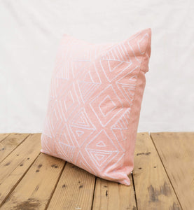 Aztec pattern pillow cover, blush colour, embroidery, geometrical, cotton pillow cover,16'X16'