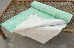 Mint quilted bedspread, hexagon pattern, cotton quilt, 100% cotton, 60X90 inches