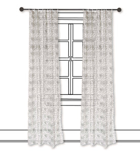 Dark brown cotton voile curtain Panel, printed curtain, Sheer Drape, kalamkari curtain, sizes availa