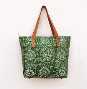 Tote bag, laminated cotton, green floral print, kalamkari, folk, matt finish, leather trims, zip clo