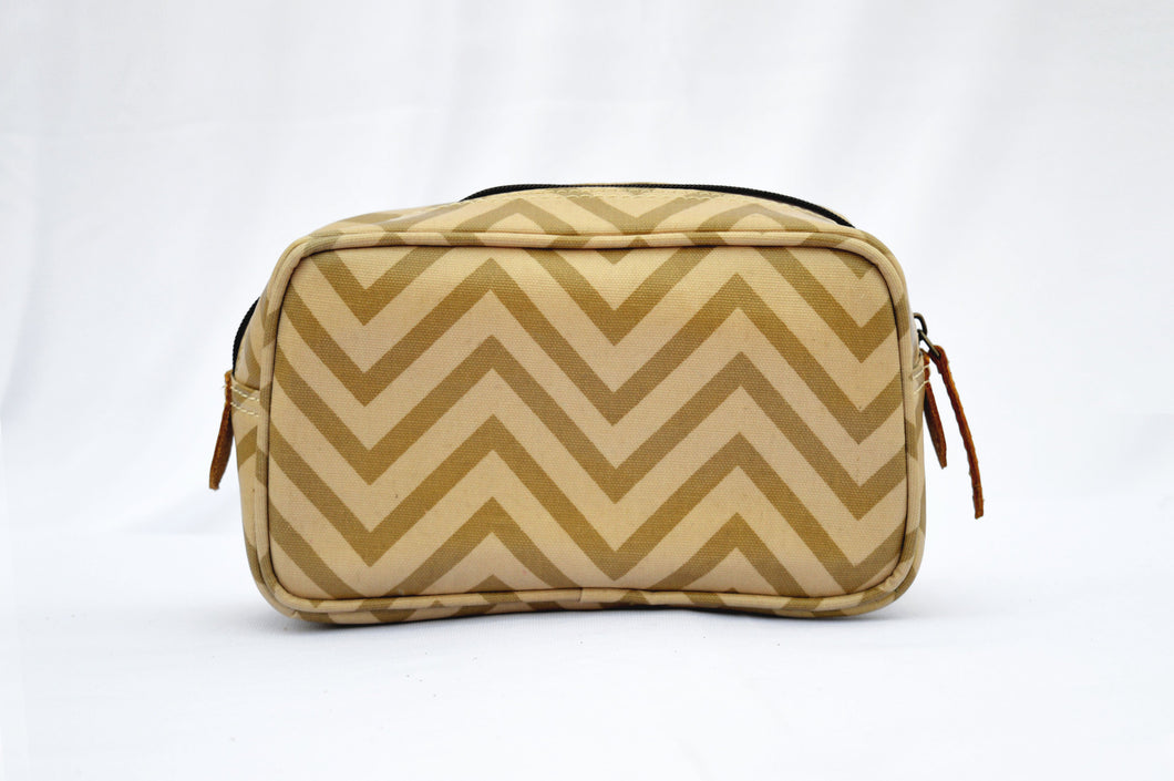 Beige toiletry bag, chevron print, laminated bag, leather trims, make up or cosmetic bag, utility po