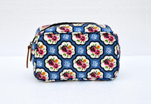 Blue toiletry bag, rose print, shabby chic, laminated bag, leather trims, make up or cosmetic bag, u