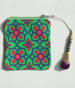 Beautiful Blue Pink Flower Coin Pouch