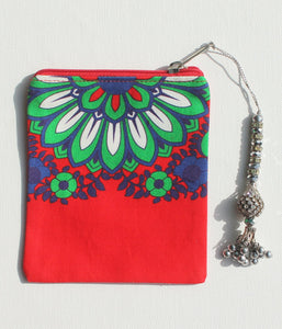 Sparkling Green Blue Flower Coin Pouches