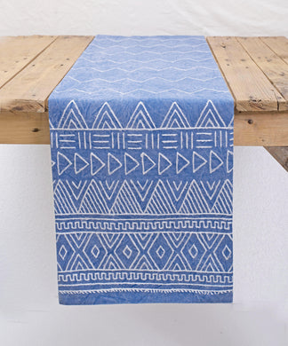 Aztec runner, hand embroidered, blue and white, cotton table runner, aztec, size available