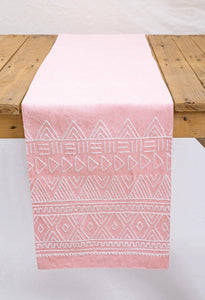 Aztec runner (coral) hand embroidered, Blush and white, cotton table runner, aztec, size available