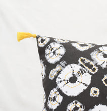 Shibori diamond pillow cover, grey print,bright yellow tassels, sizes available,