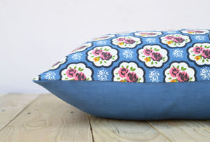 Blue colour, Shabby chic pillow cover, cotton pillow cover, rose print, cotton pillow, sizes availab