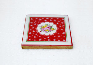Wooden coaster set, rose print, shabby chic, vintage pattern, no glass, 4X4X0.25 inches.