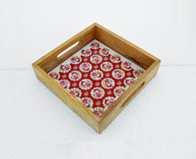 Red wooden tray, rose print, shabby chic tray, lacquered frame, no glass serving tray, 10x10 inch