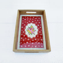 Wooden tray(red), rose print, shabby chic tray, vintage pattern, red tray, lacquered frame, no glass