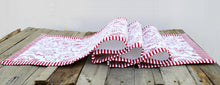 Red runner, swirl print, red stripe border, cotton table runner, victorian pattern, sizes available