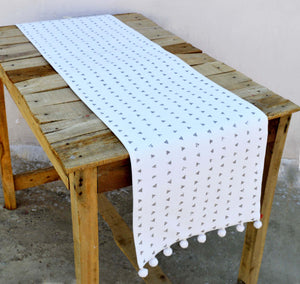 Aztec runner, triangle print, gray and white, cotton table runner, aztec, size available, 14x60
