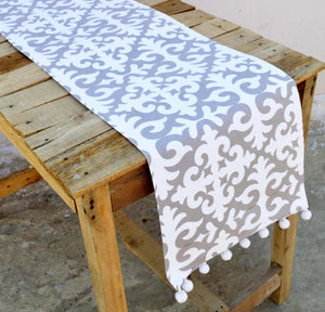 Grey runner, moroccan print, gray and white, cotton table runner, bohemian, size available